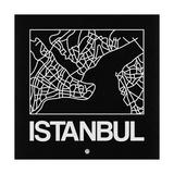 Black Map of Istanbul Affiche par  NaxArt