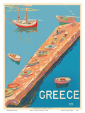 Greece - Aegean Island Jetty Prints by  Pacifica Island Art