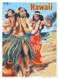Hawaii - Hawaiian Hula Dancers Láminas por  Pacifica Island Art