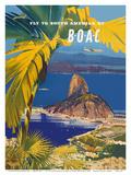 Fly to South America - British Overseas Airways Corporation - Sugarloaf Mountain, Rio De Janeiro, B Kunstdrucke von Frank Wotton