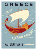 Greece - Aegean Cruises - by M/V Semiramis - Greek islands, including Skiathos, Delos, Skyros, Milo Plakater af Ilissos N.