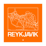 Orange Map of Reykjavik Art by  NaxArt