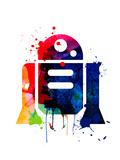 R2-D2 Cartoon Watercolor Kunstdrucke von Lora Feldman