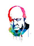 Winston Churchill Watercolor Kunst av Lora Feldman