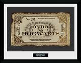 Harry Potter- Hogwarts Express Ticket Reproduction encadrée pour collectionneurs