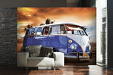 VW Blue Camper Wall Mural Behangposter