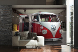 VW Red Camper Wall Mural Behangposter