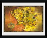 Lord Of The Rings- Map Of Middle Earth Reproduction encadrée pour collectionneurs