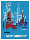 Europe via Moscow - Aeroflot (Soviet Airlines) - National Airline of Russia Prints by  Pacifica Island Art