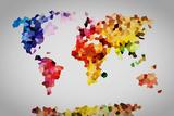 Low Poly Colorful World Map. Affiches par Michal Bednarek