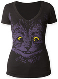 Women's: Alice In Wonderland Mad Cat V-Neck T-skjorten for damer med V-hals
