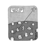 """Jim Didn't Know When to Stop Having Fun"" -- A kite flies on a string comi... - New Yorker Cartoon Reproduction giclée Premium par J.C. Duffy"