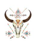 Tribal Animal Skull with Ethnic Ornament Lámina giclée prémium por  tanycya