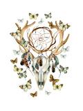 Animal Skull with Dreamcather and Butterfly Lámina giclée prémium por  tanycya