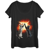 Womens: Cosmic Cats Paws Scoop Neck T-Shirts