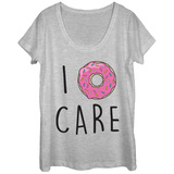 Womens: I Donut Care Scoop Neck Camisetas