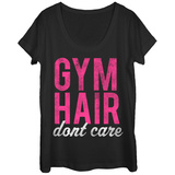 Womens: Distressed Gym Hair Don't Care Scoop Neck Vêtements