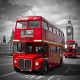 London Red Busses Poster van Melanie Viola