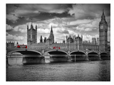 London Houses Of Parliament & Red Busses Posters by Melanie Viola