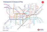 Shakespeare'S Underground Map Poster
