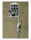 Man Hanging out of Window Plakat av  Banksy