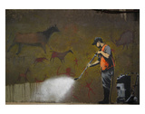 Cleaning Cave Drawings Kunstdruck von  Banksy