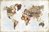 Pattern World Map Posters by Laura Marshall