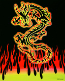 Dragon Flame Blacklight Tapestry Prints