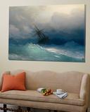 Ship on Stormy Seas Kunst av Ivan Konstantinovich Aivazovsky