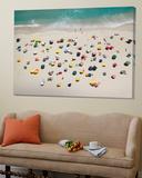 Umbrella Pattern on Beach Poster di Roger Wright