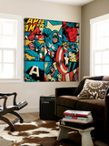 Marvel Comics Retro Badge Featuring Captain America Poster