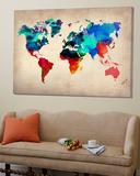 Carte du monde en aquarelle 1 Affiches par Unknown NaxArt