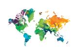 Watercolor Map Affiche par Victoria Brown