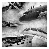 Vintage Plane Montage BW Art by May May