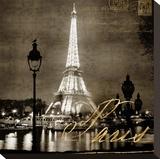 Paris At Night In Sepia Opspændt lærredstryk af Kate Carrigan
