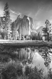 Afternoon at Cathedral Rocks, Reflections Yosemite Valley Black and White Photographic Print by Vincent James