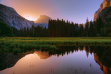 Half Dome Morning Light Beam and Reflection, Cooks Meadow, Yosemite Valley Photographic Print by Vincent James