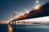 Divine Blue Cityscape, San Francisco Bay Bridge at Night Photographic Print by Vincent James