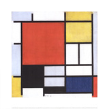 Composition with Large Red Area Posters av Piet Mondrian