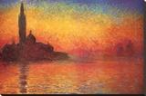 Monet Dusk Venice Stretched Canvas Print by Claude Monet
