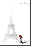 Paris (Au Revoir, Eiffel Tower) Stretched Canvas Print