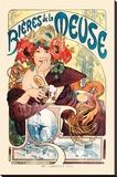 Bieres De La Meuse Opspændt lærredstryk af Alphonse Mucha