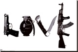 Love (Weapons) Black & White Steez Poster Stretched Canvas Print by  Steez