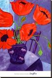 Poppies in Blue Room Bedruckte aufgespannte Leinwand von  Loughlin