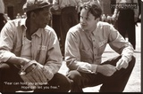 The Shawshank Redemption Movie (Tim Robbins and Morgan Freeman, B&W) Poster Print Stretched Canvas Print