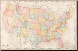 Map Of USA- Vintage Stretched Canvas Print