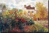 Claude Monet The Artist's Garden Art Print Poster Stretched Canvas Print by Claude Monet