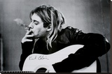 Kurt Cobain (Smoking) With Guitar Black & White Music Poster Stretched Canvas Print