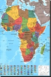 Africa Map Reference Poster Stretched Canvas Print