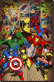 Marvel-Here Come the Heroes Stretched Canvas Print
